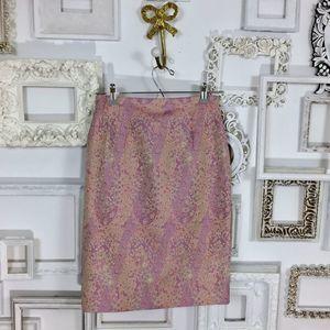 Frascara Vintage Pastel Pink & Purple Pencil Skirt